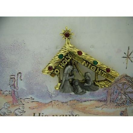 Austrian Crystal Quality Pin Badge, O Holy Night